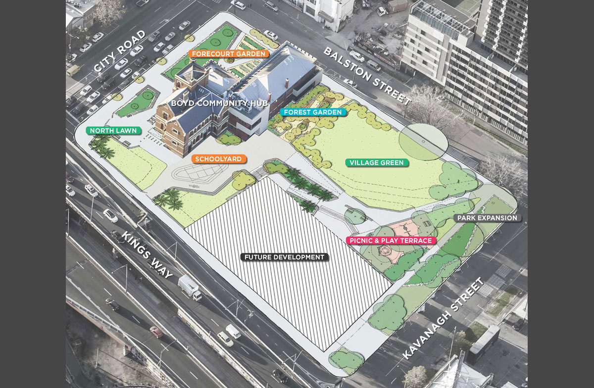 Site development plan showing future landscape development adjacent to the Boyd building, development on along Kingsway bounday and urban park on the Kavanagh Street / Balston Street corner of the site.