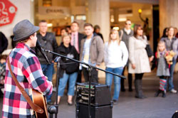 a busker performing