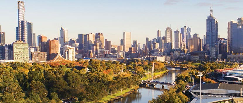 View Of The Melbourne City Skyline And Yarra River