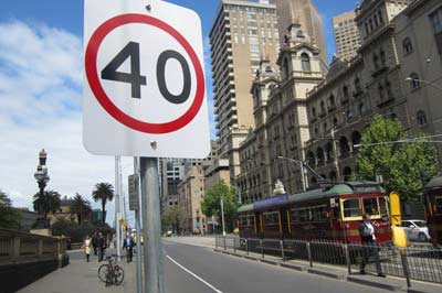 Image of a spped limit sign in melbourne