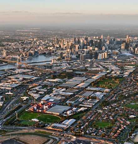 Aerial photo of Fishermans Bend area