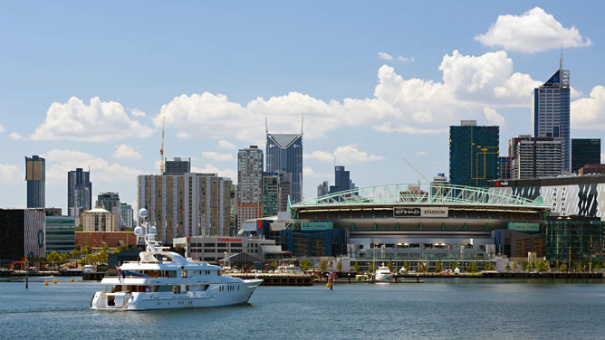 Docklands with superyachts berthed