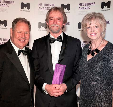 Lord Mayor and Deputy Lord Mayor with man at Melbourne Awards