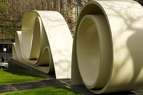 Sculpture of long scrolls of paper