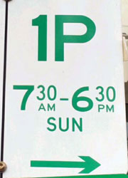 Crop From Parking Sign Showing 730am To 630pm Sunday 1P