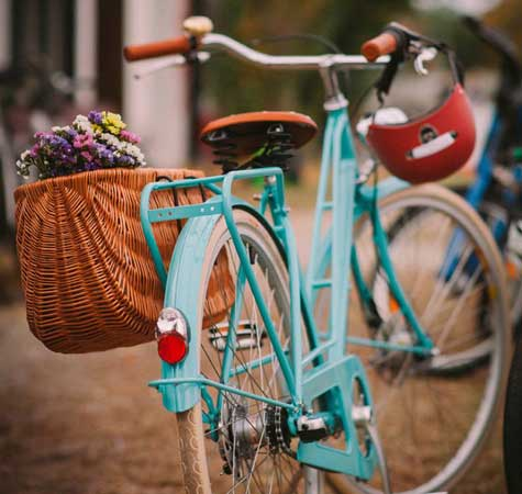 Bike with flowers in basket