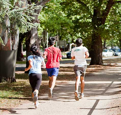 Three joggers on track in park