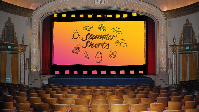 A movie theatre with the Summer Shorts logo on the screen.