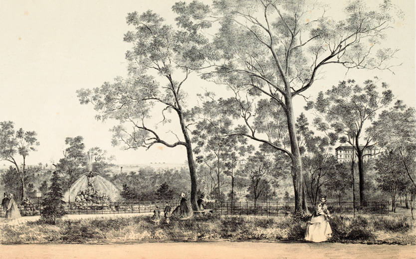 An early lithograph of Fitzroy Gardens