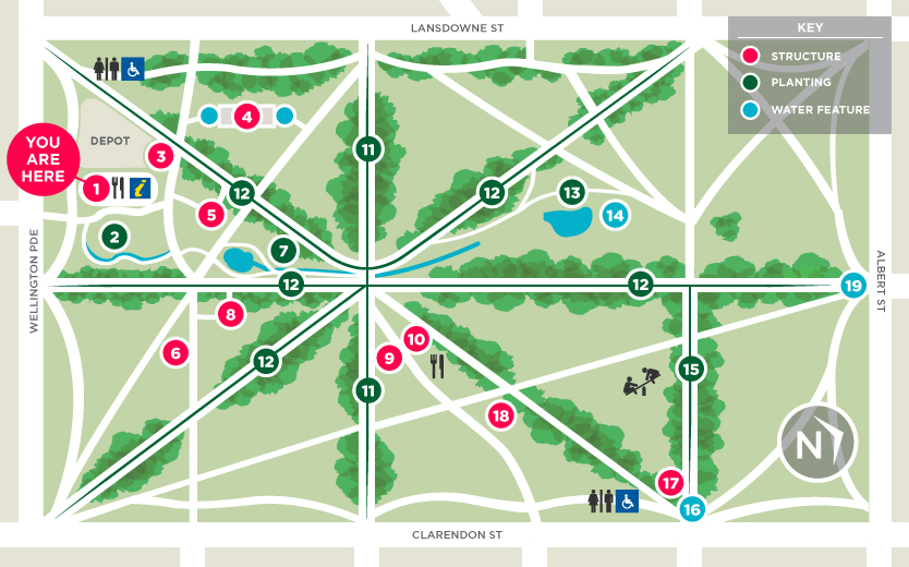 Fitzroy Gardens Map Points of Interest   FGVC Fitzroy Gardens Map